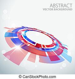 azul, abstratos, objeto, fundo, vermelho, 3d