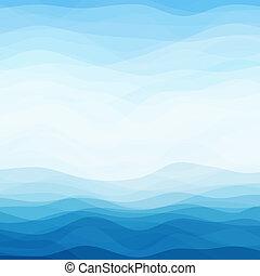 azul, abstratos, ondulado, fundo
