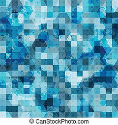 azul, abstratos, quadrado, grunge, seamless