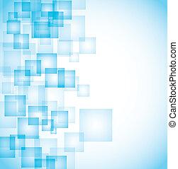 azul, abstratos, quadrados, fundo
