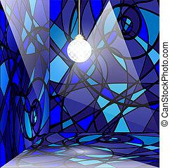 azul, abstratos, sala