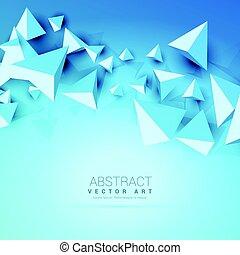 azul, abstratos, triângulos, fundo, 3d