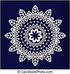 azul, abstratos, vetorial, fundo, branca, mandala, imagem