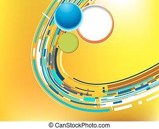 azul, abstratos, vetorial, fundo, laranja, tecnologia, circle., futurista, 3d