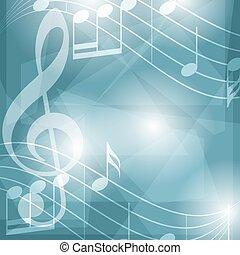 azul, abstratos, -, vetorial, música, fundo, notas