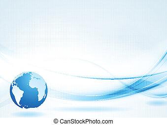 azul, abstratos, vetorial, tech, fundo, ondas