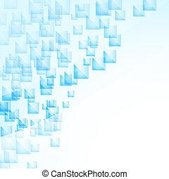 azul, abstratos, voando, quadrados, fundo