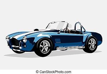 azul, ac, carro clássico, shelby, cobra, desporto, roadster