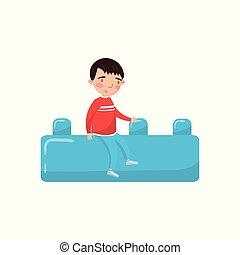 azul, actividades, poco, juguete, buiding, sentado, niño, gigante, ilustración, niñez, temprano, vector, lindo, educación, bloque, caricatura, preescolar