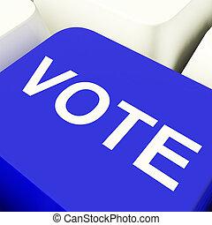 azul, actuación, elecciones, llave computadora, voto, opciones, o