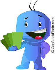 azul, actuación, ilustración, vector, fondo verde, caracter,...