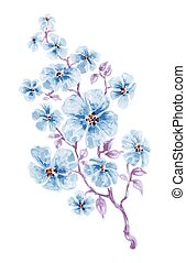 azul, acuarela, flores, rama