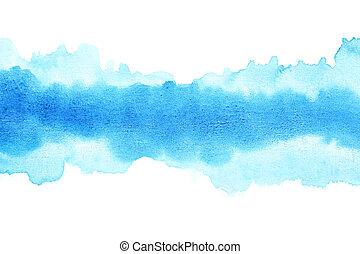 azul, acuarela, golpes, cepillo