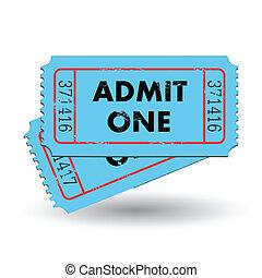 azul, admitir, boleto, uno