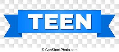 azul, adolescente, fita, caption