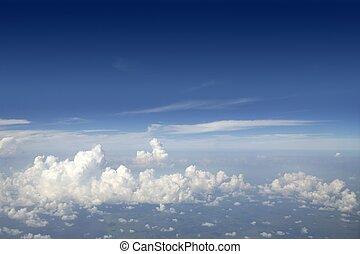 azul, aeronave, céu, avião, vista