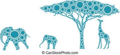 azul, africano, silueta, natureza
