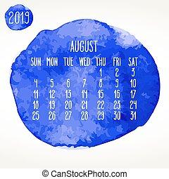 azul, agosto, mensal, pintura aquarela, 2019, ano,...