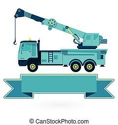 azul, agradable, grande, gancho, works., maquinaria ...