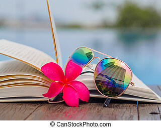 azul, agua, Plano de fondo, gafas de sol, libro