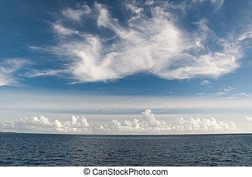 azul, aguas, cielo, océano, vórtice, indio, creciente, ...