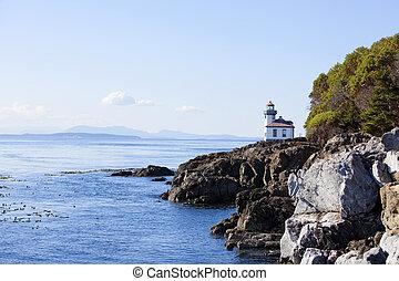 azul, aguas, de, costa, de, isla de san juan, estado de...