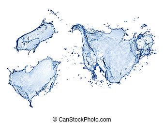 azul, aislado, agua, salpicadura, plano de fondo, blanco