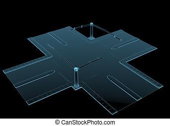 azul, aislado, calle, negro, intersección, transparente,...