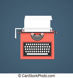 azul, aislado, fondo oscuro, rojo, máquina de escribir