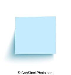 azul, aislado, nota pegajosa, fondo., blanco