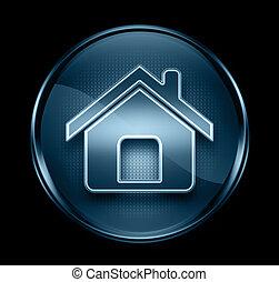 azul, aislado, oscuridad, fondo negro, hogar, icono