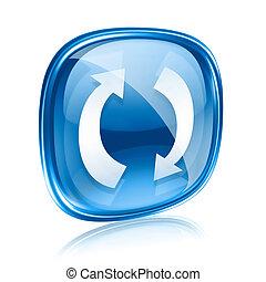 azul, aislado, refrescar, fondo., vidrio, blanco, icono