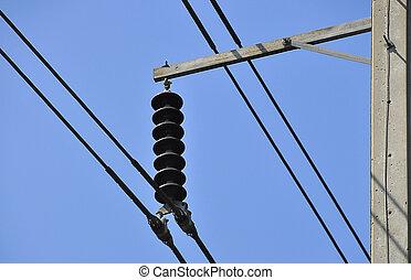 azul, alambre, cielo, eléctrico