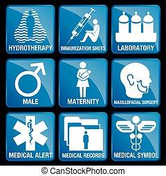 azul, alarma, conjunto, registros, hidroterapia, iconos, médico, maxillofacial, -, cirugía, maternidad, inmunización, tiros, cuadrado, plano de fondo, macho, símbolo, laboratorio