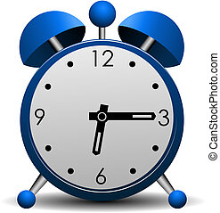 azul, alarma, vector, reloj