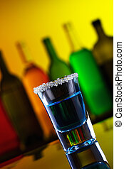 azul, alcohol, tiro, bebida, con, azúcar, en, barra