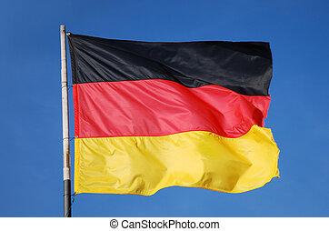 azul, alemán, cielo, profundo, bandera ondeante, frente, ...