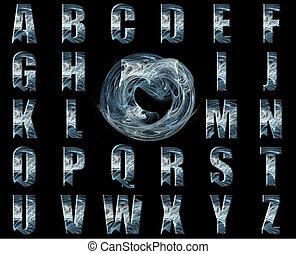 azul, alfabeto, collage, nebulosa