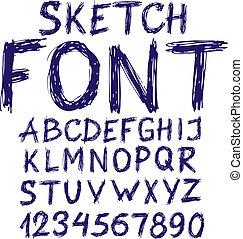 azul, alfabeto, esboço, manuscrito
