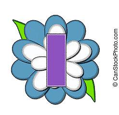 azul, alfabeto, flor, alfinete