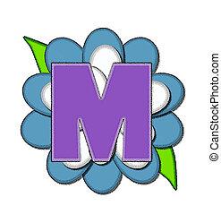 azul, alfabeto, flor, m, alfinete