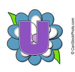azul, alfabeto, flor, u, alfinete
