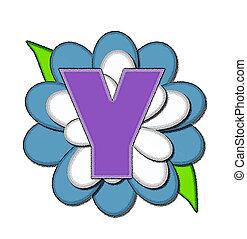azul, alfabeto, flor, y, alfinete