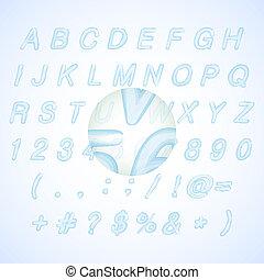 azul, alfabeto, ilustração, calligraphic, aquarela, vetorial