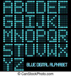 azul, alfabeto, imagen, oscuridad, fondo., digital