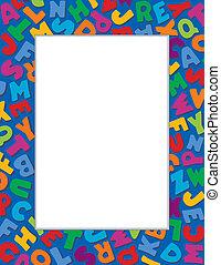 azul, alfabeto, plano de fondo, marco