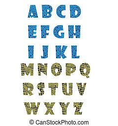 azul, alfabeto, verde