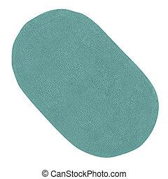 azul, alfombra, baño
