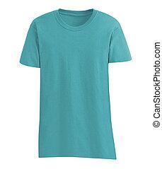 azul, algodão, camisa, isolado