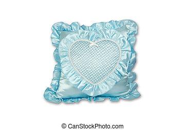 azul, almohada, aislado, blanco, plano de fondo